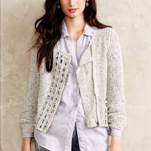 ANTHROPOLOGIE KNITTED & KNOTTED ZIP UP CARDIGAN S
